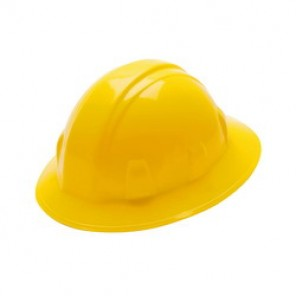 Pyramex® HP26130 Full Brim Hard Hat, 6-1/2 - 8 in, Yellow, 6-Point Nylon Ratchet Suspension, High Density Polyethylene