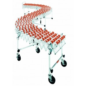 "ACCORDIAN EXPANDABLE CONVEYOR, Adj. Length: 3' - 12', Width: 18"", Cap. (lbs.) Per Ft.: 226, Leg Sets Per Unit: 4, Wheel Per Axle: 6, Wheel Type: Nylon"