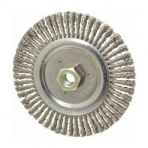 Roughneck Jr. 09500 Root Pass Weld Cleaning Brush With Nut, 6 in Dia x 3/16 in W, 5/8-11 UNC, 0.02 in