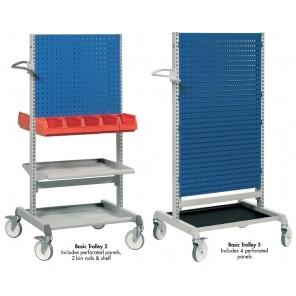 PERFORATED TOOL BOARD TROLLEYS, Basic Trolley 2, Includes: 2 Perforated panels, 2 bin rails, shelf, Cap. (lbs.): 770, Size W x D x H: 31.49 x 28.14 x 64.96""