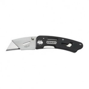 Stanley® 10-855 Folding Utility Knife, 2-7/16 in L, Steel Double Sided, Fixed Blade, Adjustable With Belt Clip Handle