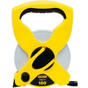 Stanley® 34-790 Open Reel Long Tape Measure, 1/2 in W x 100 ft L Blade, Polymer Coated Fiberglass, SAE