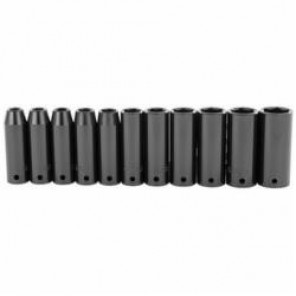 Stanley® 97-126 Metric Deep Length Impact Socket Set, 11 Pieces, 1/2 in Drive, 6-Point, Alloy Steel, Black Oxide