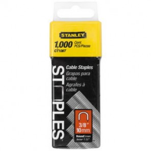 Stanley® CT106T Heavy Duty Round Crown Cable Staple, 3/8 in Leg Length, Divergent Point, 5/16 in Crown Width, Steel
