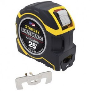 Stanley® FatMax® FMHT33338L Tape Rule, 1-1/4 in W x 25 ft L Blade, Metal, Metric/SAE