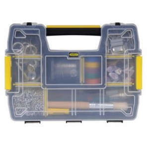 Stanley® STST14021 Compartment Box, 11-3/5 in W x 8-1/2 in D x 8-1/2 in D, 10 Compartments, Black/Yellow
