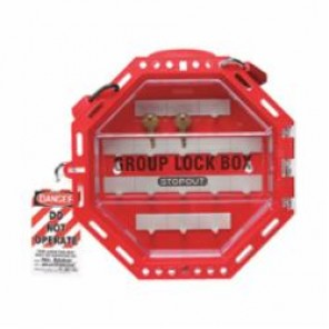 STOPOUT® KCC624 Lockout Box, 42 Padlocks, 4-1/2 in H x 14-1/2 in W x 4-1/2 in D, Red