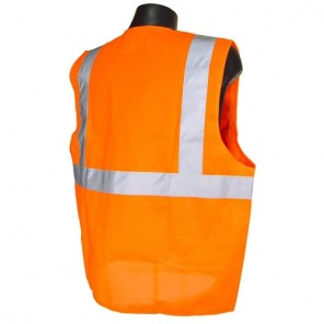 Radians® SV2ZOM Economy Type R Class 2 Mesh Safety Vest with Zipper, Hi-Viz Orange, Large