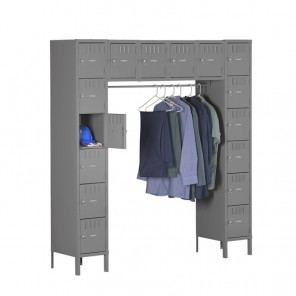 "16 PERSON LOCKER, Assembled, Outer Dim. Of Opening W x D x H: 12 x 18 x 12"", Overall Unit W x D x H: 72 x 18 x 78"", Openings: 16, Medium Gray"