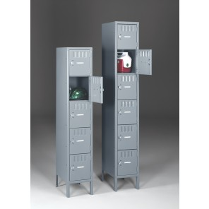 "BOX LOCKERS, Outer Dim. Of Opening W x D x H: 12 x 12 x 12"", Overall W x D x H: 12 x 12 x 66"", No. of Openings: 5, Medium Gray, 1-Wide Assembled Unit"