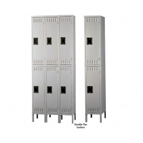 """TENNSCO DURABLE STEEL LOCKERS - DOUBLE-TIER, Outside Dim. of Opening W x D x H: 12 x 15 x 36"""", Overall Unit W x D x H: 12 x 15 x 78"""", Medium Gray, 1-Wide Assembled Unit, No. of Openings: 2"""