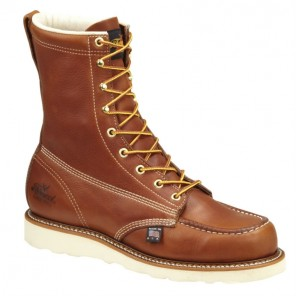 "Mens Thorogood American Heritage 8"" Moc Toe Wedge Safety-Toe Boot: Tobacco"