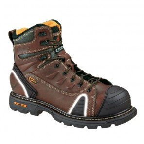 """Mens Thorogood 6"""" Lace-to-Toe Safety-Toe Boot: Brown"""