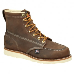 "Mens Thorogood American Heritage 6"" Moc Toe Wedge Work Boot: Dirty Brown"