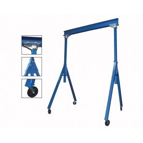 "ADJUSTABLE & FIXED STEEL GANTRY CRANES, Height: Adjustable, Cap. (lbs.): 2000, Beam Length Deduct 12"" for distance between uprights.: 20', Beam Height: 8"", Under I-Beam Height to ground for Fixed: 8'6""-14', Base Width: 88-1/2"""