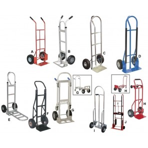 "HEAVY DUTY HAND TRUCKS, Ltr. No.: E, Alum. ""P"" Handle w/Extended Nose Plate, Cap. (lbs.): 500/200, Nose Plate W X D: 18 x 7-12"", Wheel 10 x 2"" Hard Rubber"
