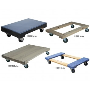 "HARDWOOD DOLLIES, Vinyl Covered, Deck Size W x L: 16 x 24"", Deck Height: 5-3/4"", Uniform Static Cap. (lbs.): 900, Caster Size: 3 x 1-1/4"""