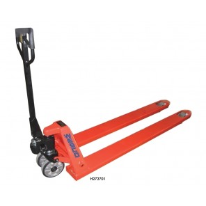 """LONG FORK PALLET TRUCK, Cap. (lbs.): 4400, Fork Area W x L: 27 x 70"""", Overall Height: 49"""""""