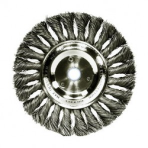 Dualife™ 08045 Wire Wheel Brush, 4 in Dia x 1/2 in W, 5/8 - 1/2 in, 0.014 in Knotted Standard Twist Wire