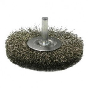 Weiler® 17979 Stem Mounted Radial Wheel Brush, 3 in Dia, 1/4 in, 0.014 in Crimped Wire
