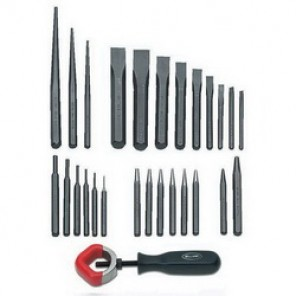 Williams® PC-27 Punch and Chisel Set, Pin/Solid/Long Taper/Prick/Center/Cold, 9 1/4 to 1-1/8 in Chisel, 17 3/32 to 1/4 in Punch, 27 Pieces
