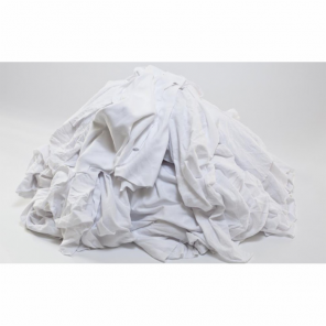White Cotton Knit Rags in 10 pound Box, BYW-10C