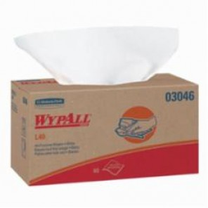 WypAll; 03046 America's Favorite General Purpose Disposable Wiper, 10 in W, 90 Wipes, DRC, White
